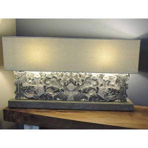 Lampára de salón de madera lacada arabesco gris 1 m x 55cm