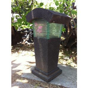 Lampe de jardin en pierre de lave et verre 50cm