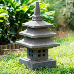 Lampe jardin japonais en pierre de lave