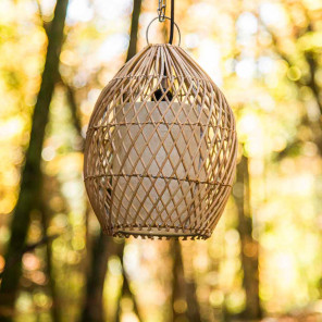Lampe suspension en osier 27 cm