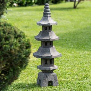 Lanterne japonaise pagode en pierre de lave jardin zen 100 cm