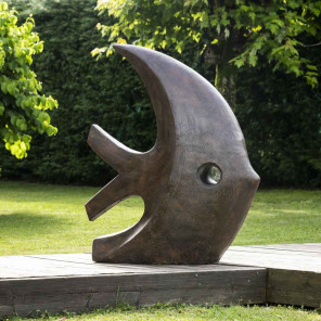 Large brown modern fish sculpture 100 cm