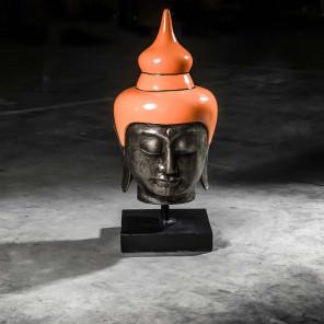 Large orange Buddha head - 73 cm