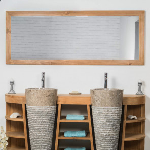 Large rectangular solid teak mirror 180 x 70