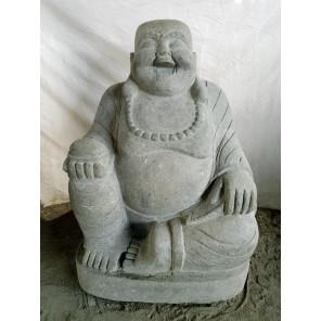 Laughing Buddha volcanic rock statue 105 cm