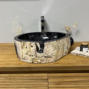 Lavabo de cuarto de baño de madera petrificada fosilizada 45 cm