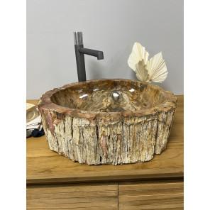 Lavabo de Cuarto de baño de madera petrificada fosilizada 60 cm
