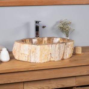 Lavabo de cuarto de baño encimera de madera fosilizada 68 cm