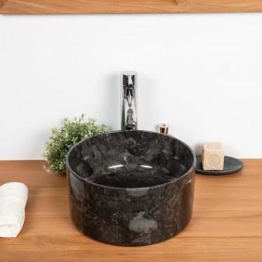 Lavabo de mármol Cuarto de baño Ulysse 30 cm negro