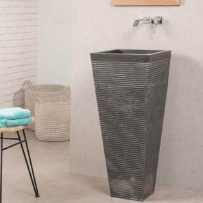 Lavabo de pie cuadrado de piedra cuarto de baño GUIZA negro