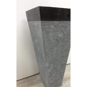 Lavabo de pie cuadrado de piedra cuarto de baño GUIZA negro mate