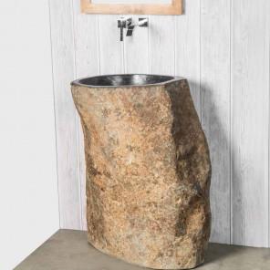 Lavabo de pie de piedra de río