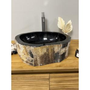 Lavabo de salle de bain en bois pétrifié fossilisé 70 CM