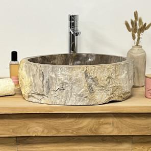 Lavabo de salle de bain en bois pétrifié fossilisé beige marron 36 cm
