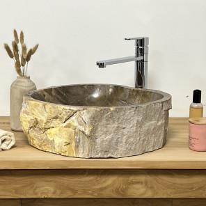 Lavabo de salle de bain en bois pétrifié fossilisé noir 42 CM