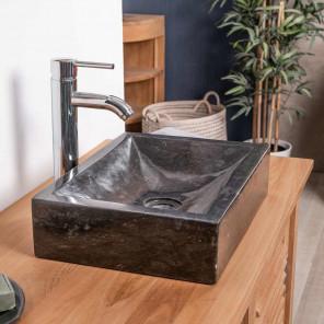 Lavabo encimera cuarto de baño ALEJANDRÍA rectángulo 30 x 40 cm negro