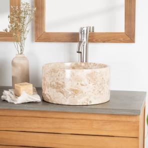 lavabo encimera de mármol cuarto de baño Ulysse 30 cm crema