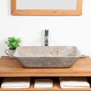 lavabo encimera grande de mármol CARMEN 60 CM GRIS
