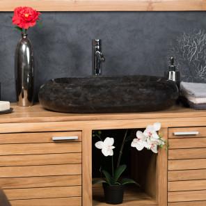 Lavabo encimera grande de mármol MURANO color negro