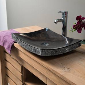 Lavabo encimera para cuarto de baño rectángulo 50 cm de piedra mármol GÉNOVA negro