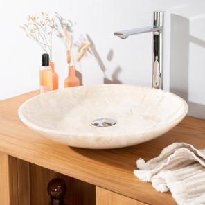 lavabo encimera redondo grande de mármol LYSOM 45 CM crema