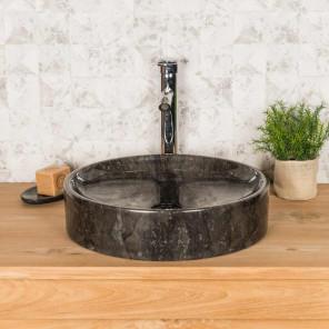 Lavabo encimera redondo grande mino negro 42 cm