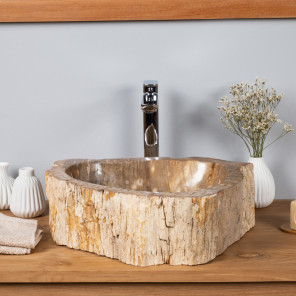lavabo sobre encimera de madera petrificada fosilizada 47cm