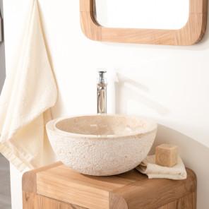 lavabo sobre encimera de piedra ESTRÓMBOLI crema 35 cm