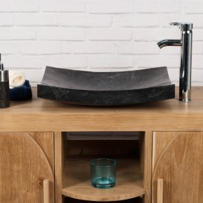 lavabo sobre encimera grande 50 cm NEGRO rectángulo de mármol GÉNOVA pulido