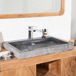 lavabo sobre encimera grande 70 cm rectángulo de piedra mármol COSY negro