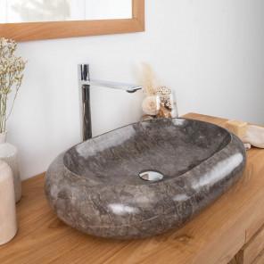 lavabo sobre encimera grande de mármol MURANO 60 x 40 gris