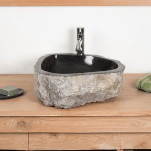 lavabo sobre encimera grande para cuarto de baño ROCA de mármol negro