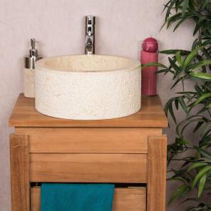 lavabo sobre encimera para cuarto de baño de mármol ELBA crema 35