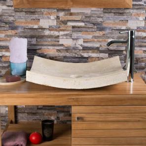 lavabo sobre encimera rectángulo 50 cm de piedra mármol GÉNOVA crema