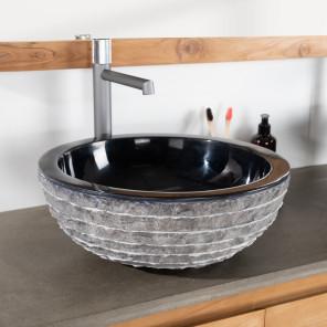 lavabo sobre encimera redondo de piedra VESUBIO negro 40 cm