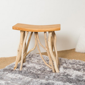 Lodge teak branch stool