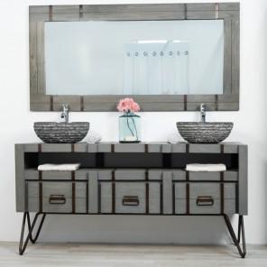 Loft wood and metal bathroom double-sink vanity unit 160 cm