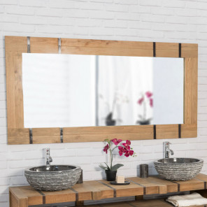Loft large wood and metal bathroom mirror 160 x 80