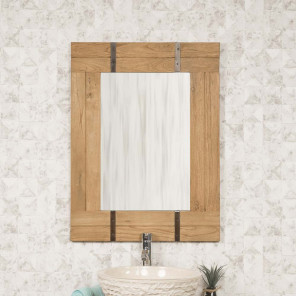 Loft wood and metal bathroom mirror 60 x 80