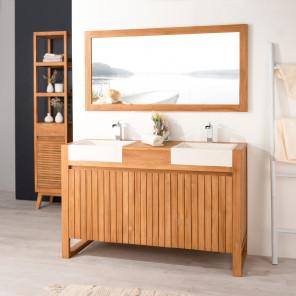 Luxury teak bathroom vanity unit and sinks 140 cream