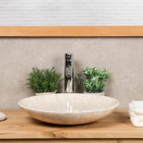 Lysom large round cream marble countertop sink 45 cm