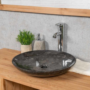 Lysom round black countertop bathroom sink 45 cm