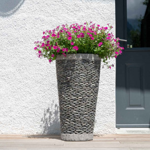 Maceta tiesto jardinera cónica piedra 80 cm jardín exterior zen