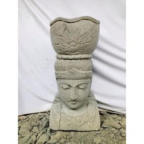 Macetero esculpido diosa balinesa jardín piedra volcánica 70 cm