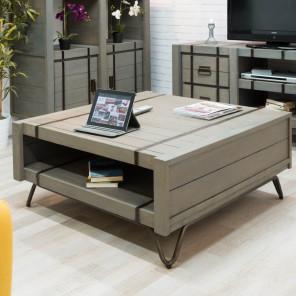 Mesa de salón rectangular de mindi LOFT gris 100 x 105
