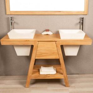 meuble salle de bain teck et vasque terrazo creme khéops 140