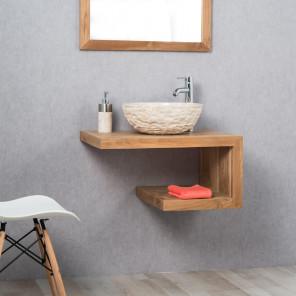 meuble salle de bain teck suspendu pure 70