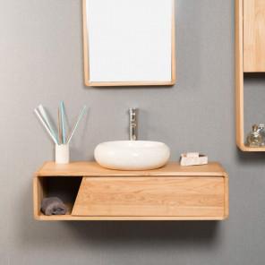 Milo teak wall-mounted bathroom vanity unit 100