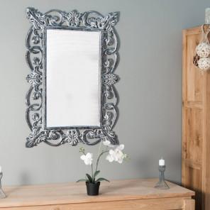 miroir baroque céruse