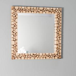 miroir carré en rondin de bois